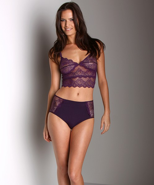 Only Hearts So Fine With Lace Crop Cami Bra Deep Purple