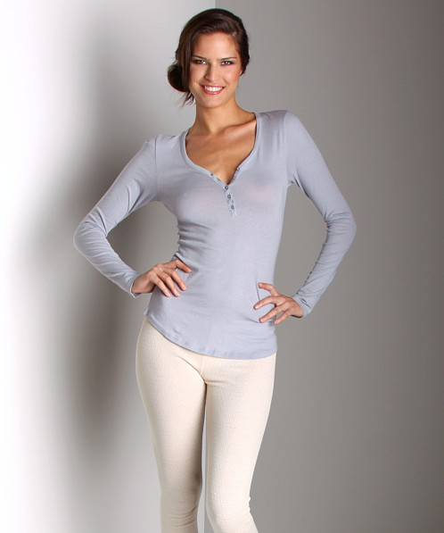 Only Hearts Organic Cotton Long Sleeve Henley Pebble