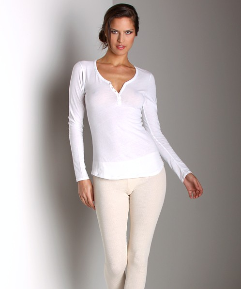 Only Hearts Organic Cotton Long Sleeve Henley White