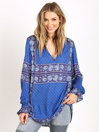 Free People Changing Times Printed Blouse True Blue