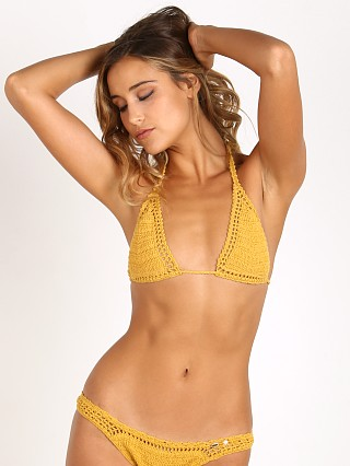 She Made Me Sliding Halter Bikini Top Marigold