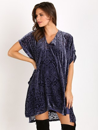 Free People Velvet Burnout Room of Shadows Shift Dress Blue Ash