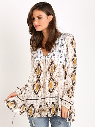 Free People 60's Down by the Bay Tunic Ivory Combo