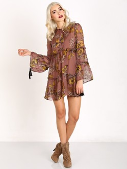 For Love & Lemons Santa Rosa Mini Dress Golden Floral