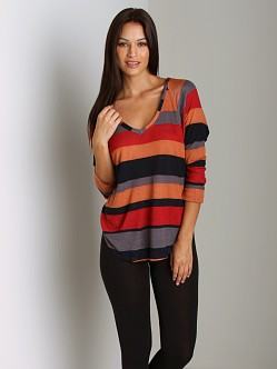 Splendid Barcelona Stripe Raglan V-Neck Terra Cotta