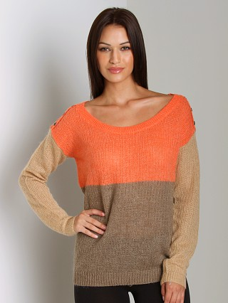 Splendid Color Block Sweater Flame/Sand