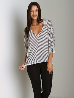 Splendid Vienna Stripe V-Neck Swan