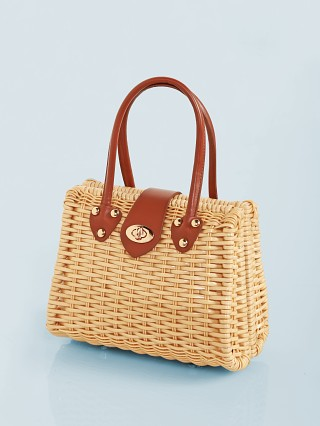 For Love & Lemons Wicker Bag Brown