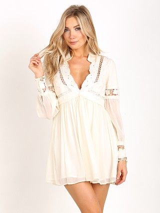 Free People In Dreamland Cutwork Mini Dress Ivory