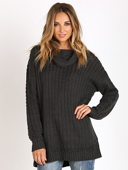 Somedays Lovin Lively Cable Rib Knit Tunic Charcoal