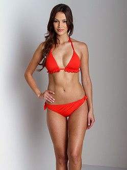 Zinke Electric Eel Triangle Bikini Top Ruffles Red Lobster