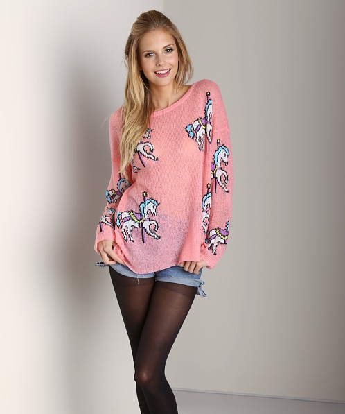 WILDFOX Ringo Carousel Ponies Sweater Neon Signs