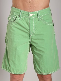 True Religion 5 Pocket Big T Board Shorts Faded Green