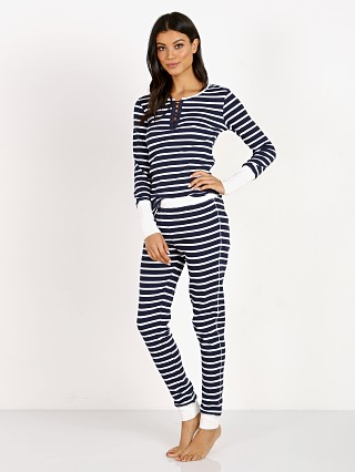 Model in weekend stripes Splendid Thermal & Legging PJ Set