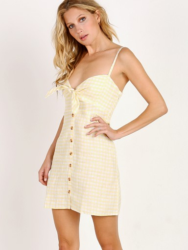 Model in kivotos yellow Faithfull the Brand Rodeo Dress