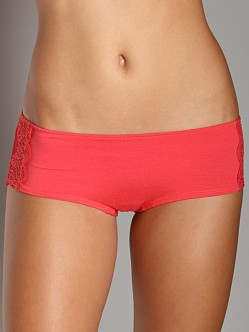 Only Hearts So Fine With Lace Ruched Back Hipster Coral
