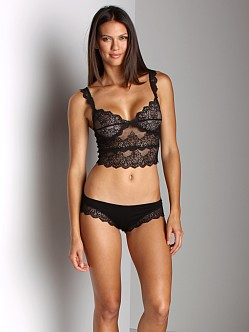 Only Hearts So Fine With Lace Cropped Cami Bra Black