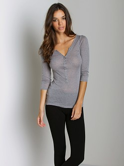 Free People Pointelle Henley Long Sleeve Silver