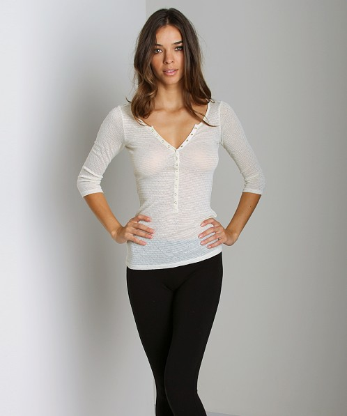 Free People Pointelle Henley Long Sleeve Ivory