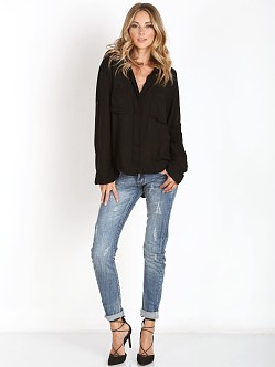 Bella Dahl Split Back Button Down Shirt Black