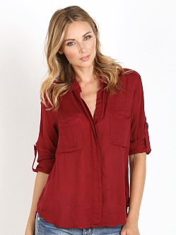 Bella Dahl Split Back Button Down Shirt Deep Crimson