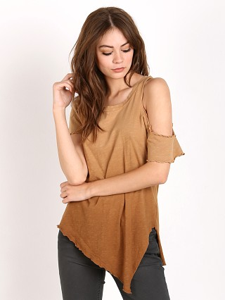 LNA Clothing Cut Out Shoulder Tee Ombre Khaki