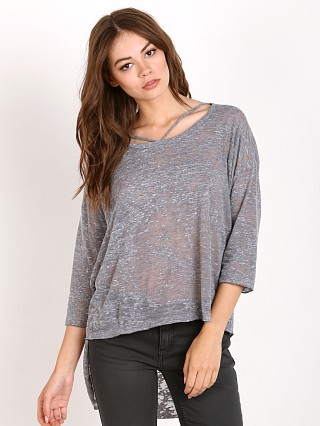 Model in heather grey LNA Clothing Cape Strap Tee