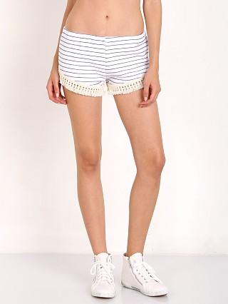 Model in white/navy stripe LNA Clothing Cantina Short