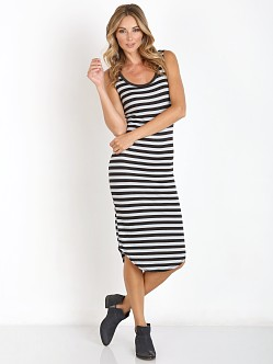 LNA Clothing Waffle Tank Dress Charcoal/Ice Stripe