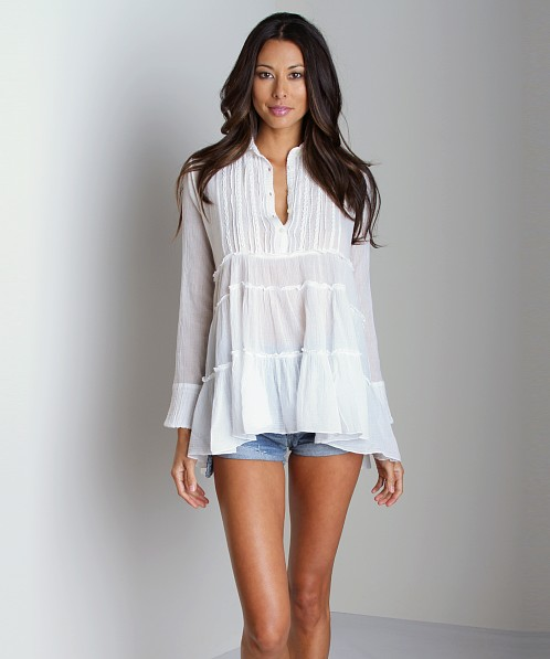 Free People Tunic Tuxedo Button Down White