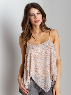 Free People Printed Dew Drop Tank Ivory Combo