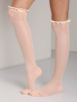 Free People Ruffle Knee Sock Apricot