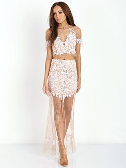 For Love & Lemons Luau Crop Top White & Nude