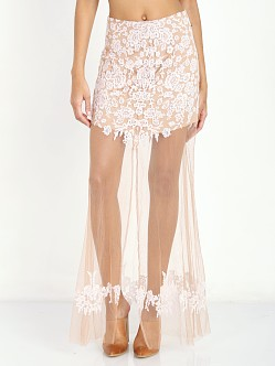 For Love & Lemons Luau Maxi Skirt White & Nude