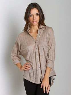 Free People Reality Bites Shirt Taupe