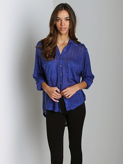Free People Reality Bites Shirt Electric Blue