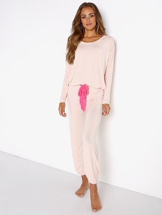 Model in bellini/bright pink Eberjey The Gisele Slouchy Set