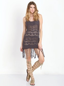 Lisa Maree The Ground Dweller Fringe Crochet Tank Dress Black