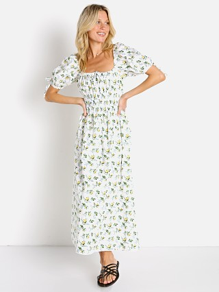 Model in bendita floral Faithfull the Brand Flora Midi Dress