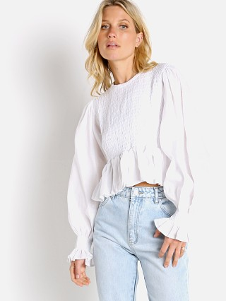 Model in white Faithfull the Brand Savita Top