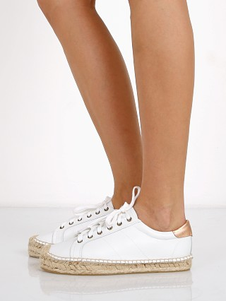 Soludos Platform Leather Tennis Sneaker White