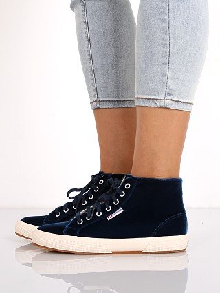 Superga Velvet High Top Sneaker Blue
