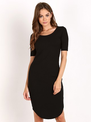 Bella Luxx Stripe Rib Shirt Tail Midi Dress Black