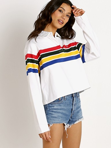 Levi's Cropped Rugby Tee Westley White Groud