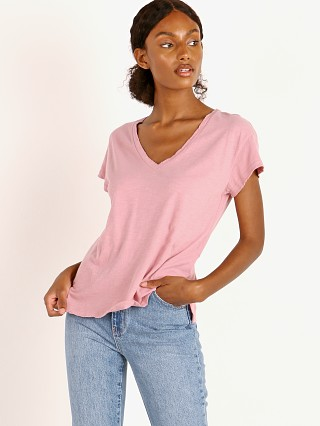 LNA Clothing Distressed V Neck Fox Glow