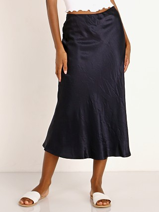 Model in navy LNA Clothing Bias Skirt
