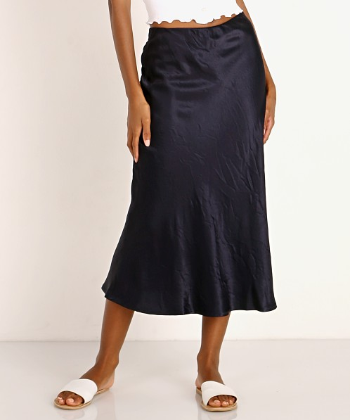 LNA Clothing Bias Skirt Navy