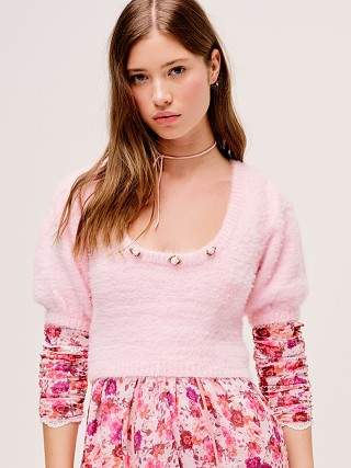 For Love & Lemons Anastasia Sweater Carnation