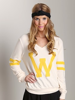 Wildfox Couture Letterman V-Neck Sweater Champagne