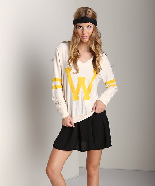 WILDFOX Letterman V-Neck Sweater Champagne